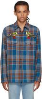 Gucci Multicolor Embroidered Check Bird Shirt