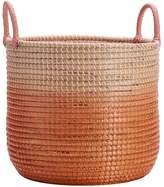 Pottery Barn Teen Woven Seagrass Storage Baskets, Medium, Single, Blush Ombre