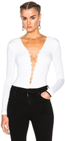 Alexander Wang Modal Spandex Lace Up Bodysuit in White.