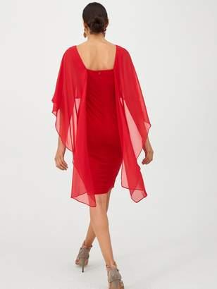 Gina Bacconi Cape Sleeve Dress - Red
