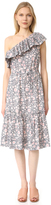 Rebecca Taylor One Shoulder Ruffle Floral Dress