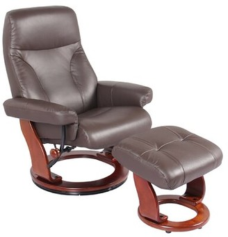 Red Barrel Studio Monroe Street Swivel Recliner with Ottoman Upholstery Color: Chocolate Brown