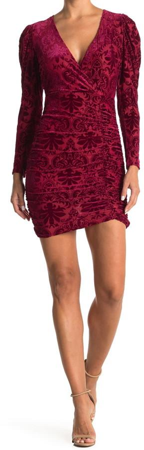 Lush Flocked Velvet Long Sleeve Ruched Mini Dress