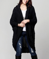 Black Cable Knit Hooded Cocoon Cardigan – Plus