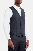 Topman Skinny Fit Textured Wool Blend Vest