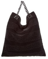 Herve Leger Leather & Woven Handle Bag