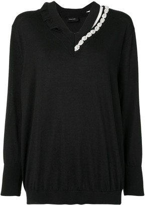 Simone Rocha Pearl Embellished Silk-Wool Jumper