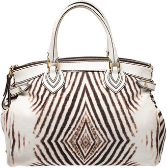 Roberto Cavalli Cream/Brown Zebra Print Canvas and Leather Satchel