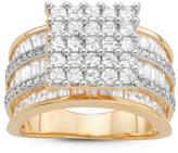 Tiara Cubic Zirconia Yellow Gold-Plated Sterling Silver Fashion Ring