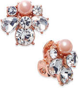 Charter Club Rose Gold-Tone Crystal and Pink Imitation Pearl Cluster Clip-On Stud Earrings, Only at Macy's