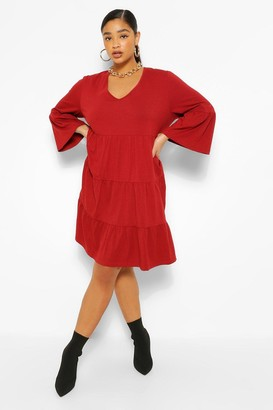 boohoo Plus Tiered Jersey Ruffle Smock Dress