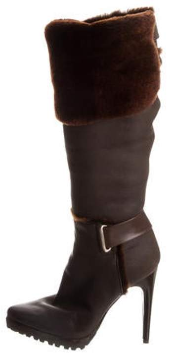 683e0241e48 Leather Over-The-Knee Boots Brown Leather Over-The-Knee Boots
