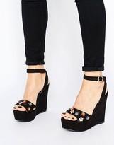 Glamorous Black Embellished Wedged Heeled Sandals