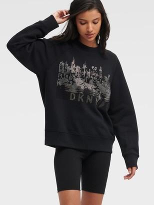 DKNY Women's Rhinestone Cityscape Pullover Sweatshirt - Black - Size XX-Small