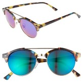 BP Women's 50Mm Mirrored Round Sunglasses - Tort Blue