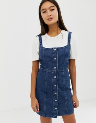 Asos Design DESIGN denim bodycon dress with popper detail in indigo-Blue