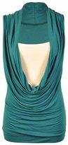 GirlsWalk Girls Walk Women's Plus Size Ruched Cowl Neck Vest 2 In 1 Tunic Sleeveless Jersey Tank Top