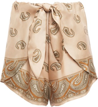Nanushka Naila Wrap-effect Knotted Printed Silk-twill Shorts