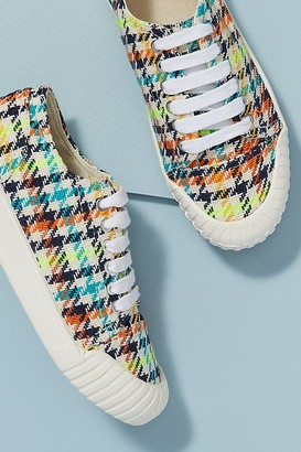 Good News Bagger Neon Checked Organic-Cotton Trainers