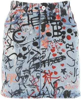 Burberry Graffiti Print Washed Denim Mini Skirt