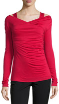 Bailey 44 Long-Sleeve Side-Ruched Top, Ruby