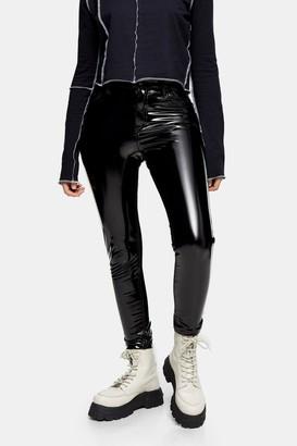Topshop PETITE Black Faux Leather Vinyl Jamie Skinny Jeans