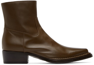 Acne Studios Brown Square-Toe Zip Boots