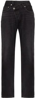 A Gold E Agolde criss-cross wide leg jeans