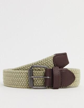 ASOS DESIGN slim woven belt in stone