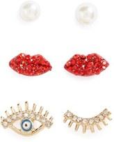 Topshop Set of 3 Pearl, Lip & Eye Earrings