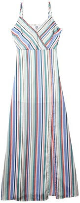 BB Dakota Printed Reverse Crepon Stripe Maxi with Front Slit (Multi Stripe) Women's Dress
