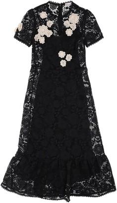 RED Valentino MACRAME LACE LONG DRESS 40 Black, White