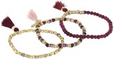French Connection Set of 3 Semi-Precious Bead with Tassel Stretch Bracelet