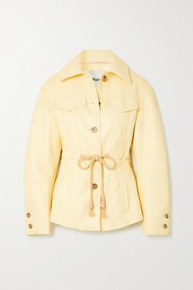Nanushka Tobias Belted Recycled Leather-blend Jacket - Ecru