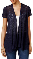 Style And Co. Petite Petite Mixed-Media Open-Front Cardigan