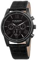 Akribos XXIV Men's Swiss Quartz Multi-Function Black Alligator Embossed Genuine Leather Strap Watch AK911BK