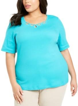 Karen Scott Plus Size Cotton Cutout-Neck T-Shirt, Created for Macy's