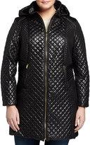 Via Spiga Hooded Zip-Front Quilted Puffer Coat, Black, Women's