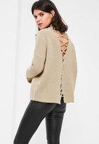 Missguided Nude Chunky High Neck Lace Up Back Sweater