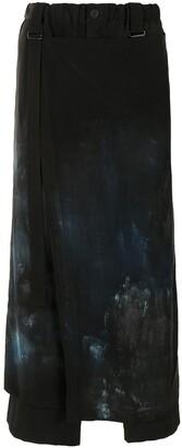 Yohji Yamamoto Skirt-Overlaid Asymmetric Trousers