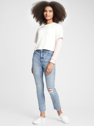 Gap Teen Destructed Sky High Rise Skinny Ankle Jeans with Stretch