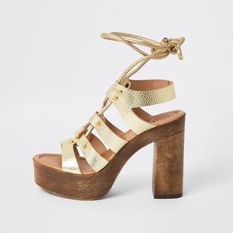 River Island Gold leather tie up platform sandals
