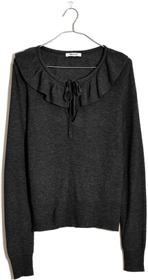 Madewell Tie Neck Ruffle Pullover Sweater