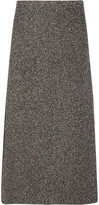 Rosetta Getty Metallic Bouclé Midi Skirt - Gray