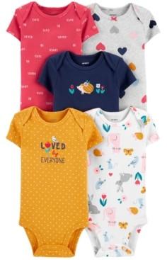 Carter's Baby Girls 5-Pk. Cotton Graphic Bodysuits