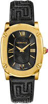 Versace 30mm Couture Oval Watch w/ Leather Strap, Golden/Black