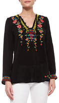 Johnny Was Suko V-Neck Embroidered Blouse