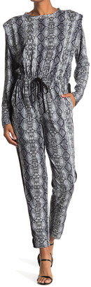 One One Six Snakeskin Print Long Sleeve Jumpsuit