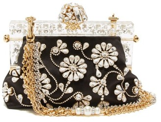 Dolce & Gabbana Venda Crystal-embellished Satin Clutch Bag - Womens - Black