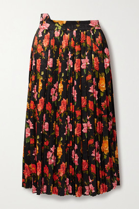 Commission Fanny Pleated Floral-print Satin-jacquard Midi Skirt - Black